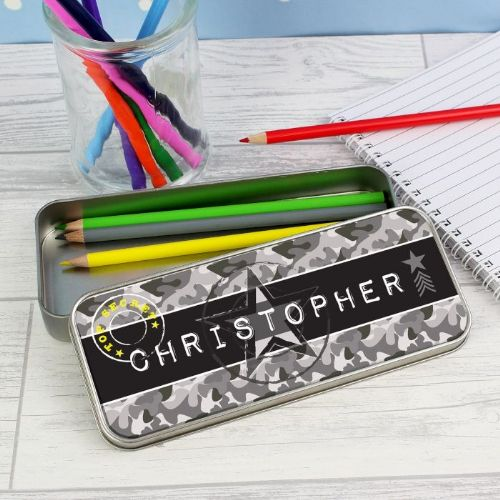 Personalised Army Camo Pencil Tin with Pencil Crayons